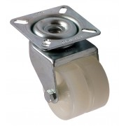 50mm Twin Wheel Swivel Castor (Plate), Nylon wheel, Plain Bore, 60kg