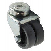 2x50mm Swivel Castor (BH), Rubber Tyre wheel, Plain Bore, 60kg