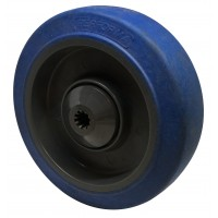 125mm Blue Rubber Tyre / Nylon Centre Wheel, 8mm ball bearing, 150kg