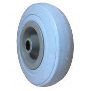 125mm Grey Rubber Tyre / Plastic Centre Wheel, 12mm Plain Bore, 90kg