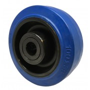100mm Flexello Blue Rubber Tyre Wheel, 15mm Roller Bearing, 160kg