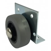 50mm Furniture Castor Rubber Tyre Wheel, Side Plate Fitting