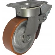150mm Swivel Castor with Brake (Plate), Polyurethane Tyre wheel, Ball bearing, 700kg