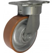 125mm Swivel Castor (Plate), Polyurethane Tyre wheel, Ball bearing, 400kg