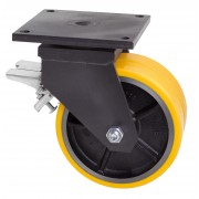 125mm Twin Wheel Swivel Castor with brake, Polyurethane Tyre Wheel, 750kg Load Rating