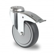 100mm Swivel Castor with Brake (Bolt Hole), Thermoplastic Grey Rubber Tyre wheel, Ball Bearing, 100kg