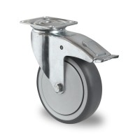 100mm Braked Castor (Top Plate), Grey Thermoplastic Rubber Wheel, Ball Bearing, 100kg