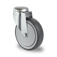 125mm Swivel Castor (Bolt Hole), Grey Thermoplastic Rubber Tyre wheel, Ball Bearing, 100kg