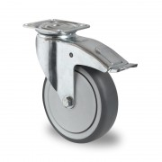 125mm Braked Castor (Top Plate), Grey Thermoplastic Rubber Wheel, Ball Bearing, 100kg