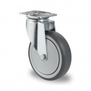 125mm Swivel Castor (Top Plate), Grey Thermoplastic Rubber Wheel, Ball Bearing, 100kg
