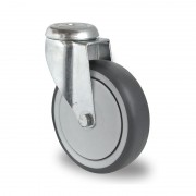 150mm Swivel Castor (Bolt Hole), Grey Thermoplastic Rubber Tyre wheel, Ball Bearing, 100kg
