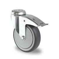 75mm Swivel Castor with Brake (Bolt Hole), Thermoplastic Grey Rubber Tyre wheel, Ball Bearing, 70kg