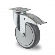 75mm Braked Castor (Top Plate), Grey Thermoplastic Rubber Wheel, Ball Bearing, 75kg