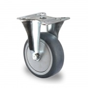 75mm Fixed Castor (Top Plate), Grey Thermoplastic Rubber Wheel, Ball Bearing, 75kg