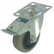 75mm Swivel Castor with Brake (Plate), Grey Rubber Tyre wheel, Plain Bore, 50kg