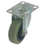 75mm Swivel Castor (Plate), Grey Rubber Tyre wheel, Plain Bore, 50kg