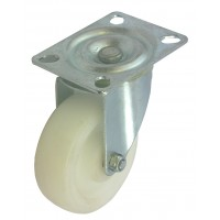 75mm Swivel Castor (Plate), White Polypropylene wheel, Plain Bore, 70kg