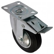 75mm Swivel Castor with Brake (Plate), Black Rubber Tyre wheel, Roller Bearing, 50kg