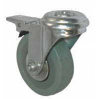 75mm Swivel Castor with Brake (BH), Grey Rubber Tyre wheel, Plain Bore, 70kg