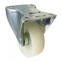 100mm Fixed Castor (Plate Fitting), White Nylon wheel, Plain Bore, 250kg