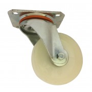 100mm Swivel Castor (Plate Fitting), White Nylon wheel, Plain Bore, 250kg