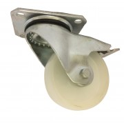 100mm Swivel with Brake Castor (Plate Fitting), White Nylon wheel, Plain Bore, 250kg