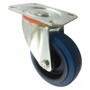 100mm Swivel Castor (Plate), Blue Rubber Tyre Wheel, Roller Bearing, 200kg