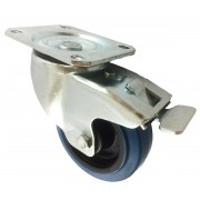 100mm Swivel Castor with Brake (Plate), Blue Rubber Tyre Wheel, Roller Bearing, 200kg