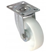 100mm Swivel Castor (Plate), White Polypropylene wheel, Plain Bore, 125kg