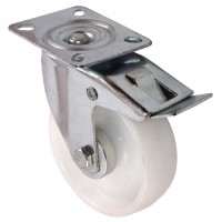 100mm Swivel Castor with Brake (Plate), White Polypropylene wheel, Plain Bore, 125kg