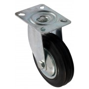 100mm Swivel Castor (Plate), Black Rubber Tyre wheel, Roller Bearing, 70kg