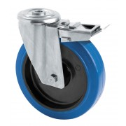 100mm Stainless Steel Swivel Castor with Brake (BH), Rubber Tyre wheel, Roller Bearing, 150kg