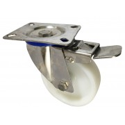 100mm Stainless Steel Swivel Castor with Brake (Plate), Nylon wheel, Plain Bore, 150kg