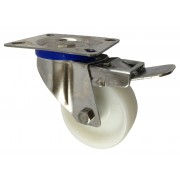 80mm Stainless Steel Swivel Castor with Brake (Plate), Nylon wheel, Plain Bore, 150kg