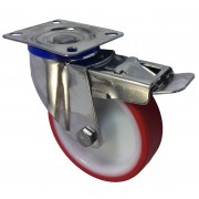 125mm Stainless Steel Swivel Castor with Brake (Plate), Polyurethane Tyre wheel, Roller Bearing, 150kg