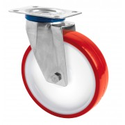 100mm Stainless Steel Swivel Castor (Plate), Polyurethane Tyre wheel, Roller Bearing, 150kg