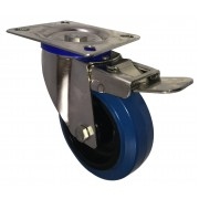 100mm Stainless Steel Swivel Castor with Brake (Plate), Rubber Tyre wheel, Roller Bearing, 150kg