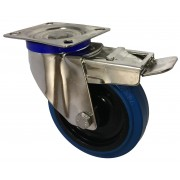 125mm Stainless Steel Swivel Castor with Brake (Plate), Rubber Tyre wheel, Roller Bearing, 150kg