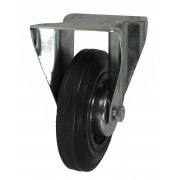 100mm Fixed Castor (Keystone), Black Rubber Tyre, Roller Bearing, 75kg