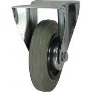 125mm Fixed Castor (Plate), Grey Rubber Tyre wheel, Roller Bearing, 100kg