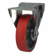 100mm Fixed Castor (Plate), Polyurethane Tyre wheel, Roller Bearing, 150kg