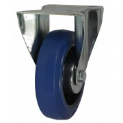 100mm Fixed Castor (80x60 - Keystone), Rubber Tyre, Roller Bearing, 160kg
