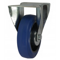 100mm Fixed Castor (Plate), Rubber Tyre wheel, Roller Bearing, 160kg