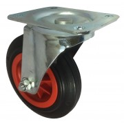 160mm Swivel Castor (Plate), Black Rubber Tyre wheel, Roller Bearing, 135kg