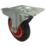 160mm Swivel Castor with Brake (Plate), Black Rubber Tyre wheel, Roller Bearing, 135kg