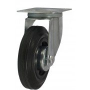 100mm Swivel Castor (Plate), Black Rubber Tyre wheel, Roller Bearing, 75kg