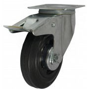 125mm Swivel Castor with Brake (Plate), Black Rubber Tyre wheel, Roller Bearing, 100kg