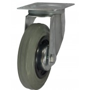 100mm Swivel Castor (Plate), Grey Rubber Tyre wheel, Roller Bearing, 75kg