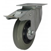 125mm Swivel Castor with Brake (Plate), Grey Rubber Tyre wheel, Roller Bearing, 100kg