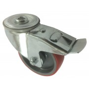 100mm Swivel Castor with Brake (12mm BH), Polyurethane Tyre wheel, Roller Bearing, 150kg